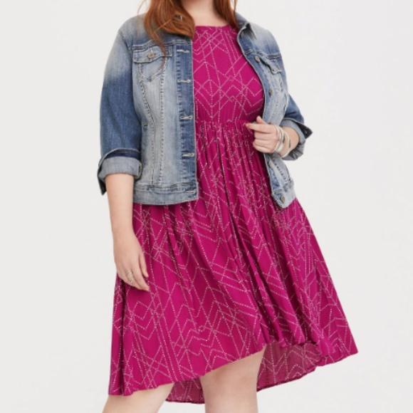 dc3273d0cad NWT Torrid Berry Dot Hi-Lo Challis Dress 2X